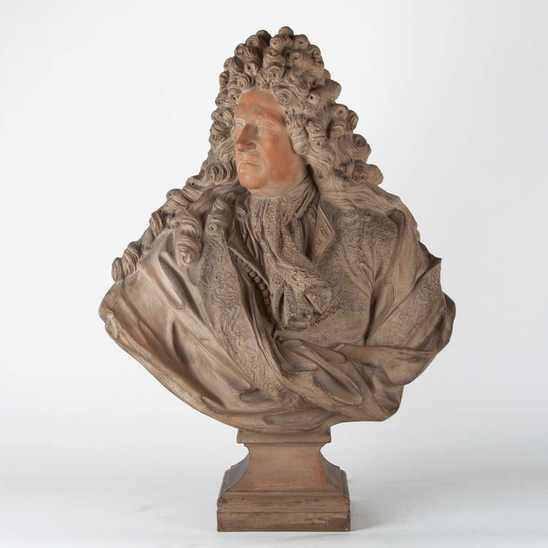 Terra cotta bust depicting Louis XIV, 19th century<br /> Good condition and quality.<br /> French.