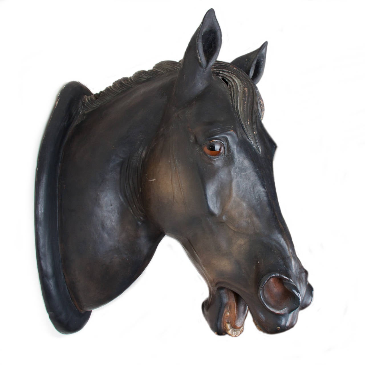 British 19th Century Patinated Terracotta Horse Head For Sale