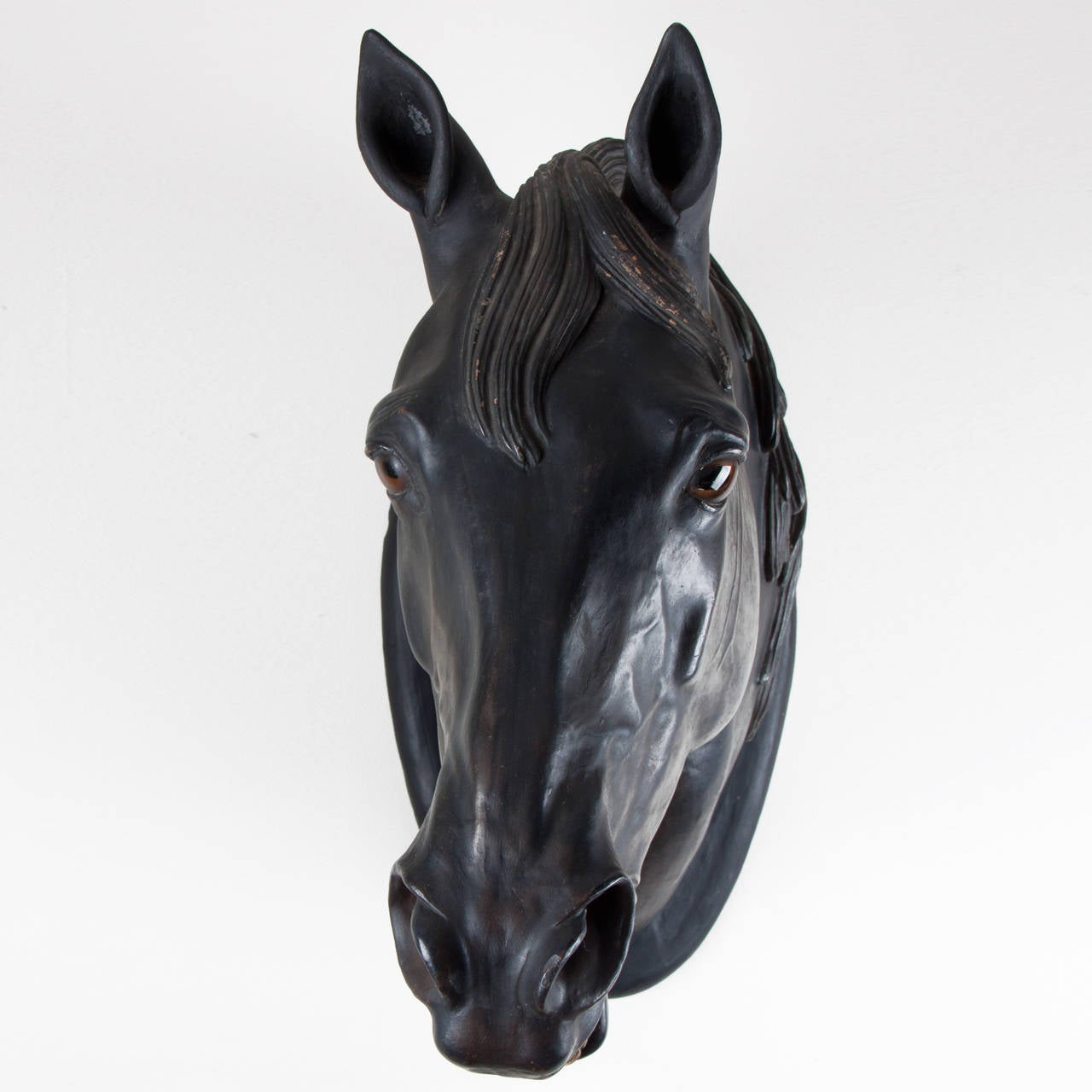 19th Century Patinated Terracotta Horse Head In Good Condition For Sale In Esbeek, NL