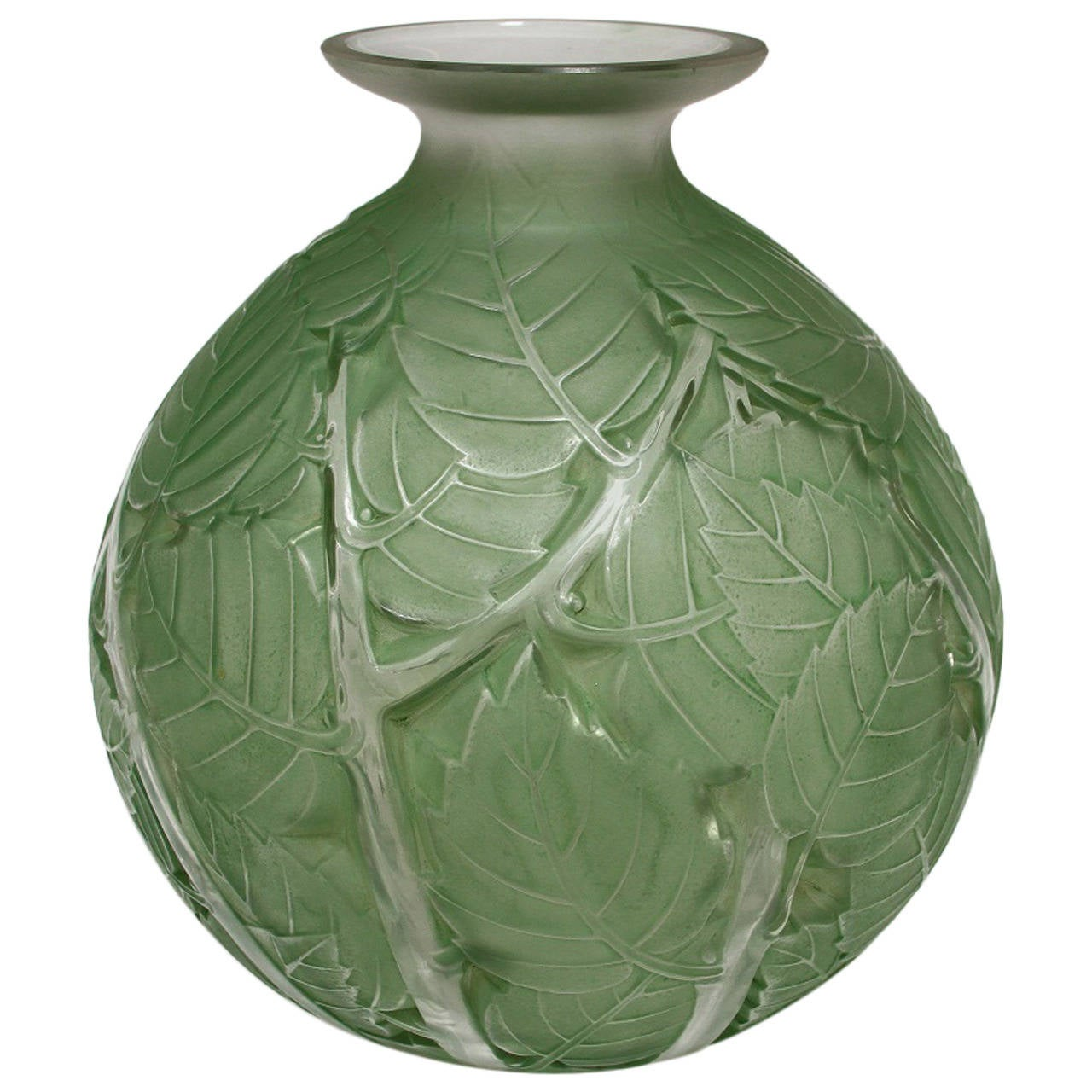 Rene Lalique Quot Milan Quot Glass Green Stain Vase At 1stdibs