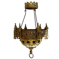 Gilt-bronze Gothic Revival six light chandelier by Chertier
