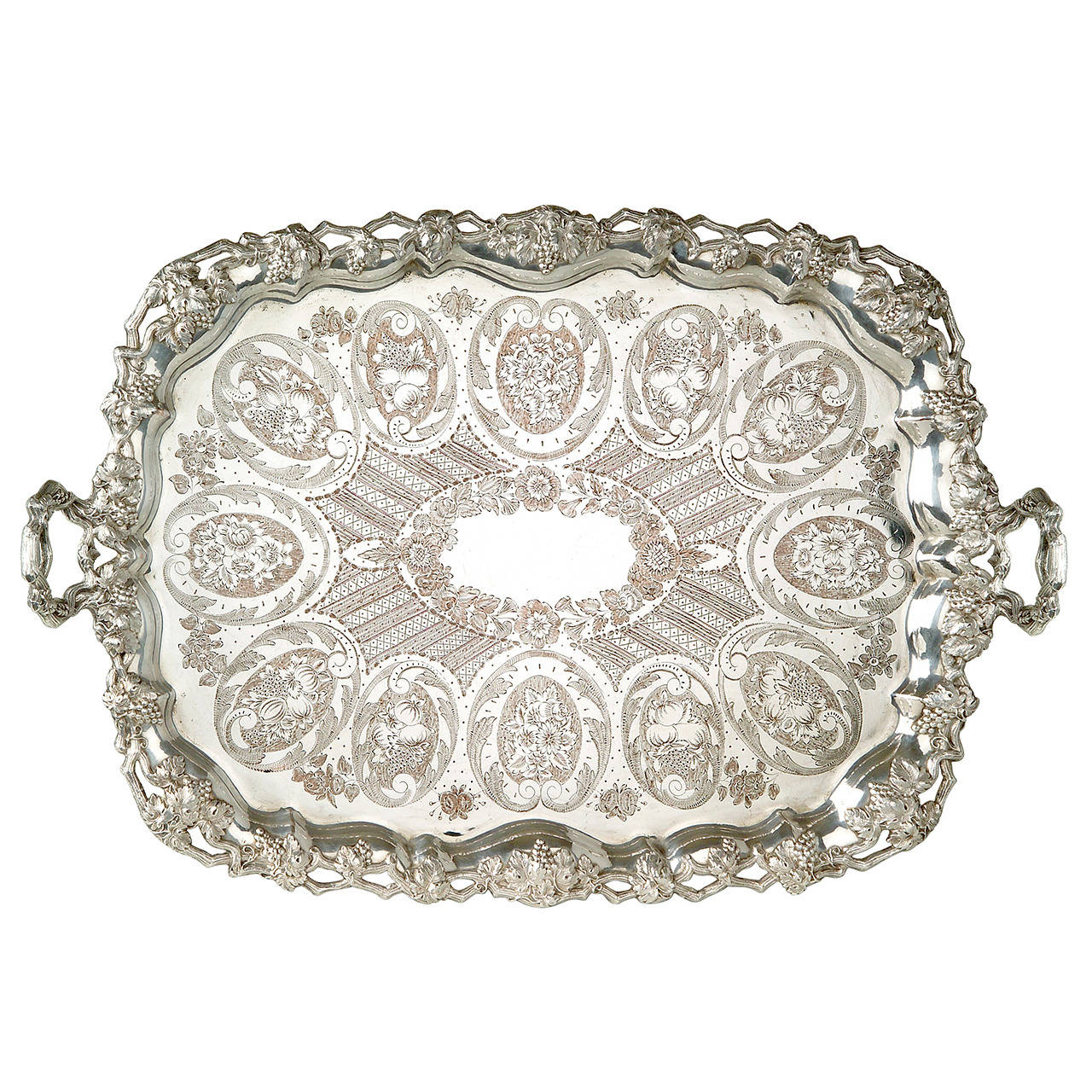 A large engraved silver plated tray with silver garnitures by Jean-Joseph Micaud For Sale