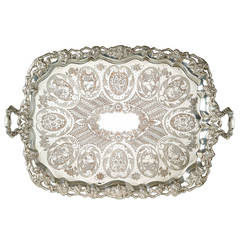 A large engraved silver plated tray with silver garnitures by Jean-Joseph Micaud