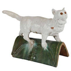 19th c. French Ceramic Cat Roof Tile
