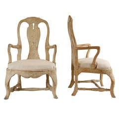 19th c. Pair of Carved Wood Rococo Armchairs