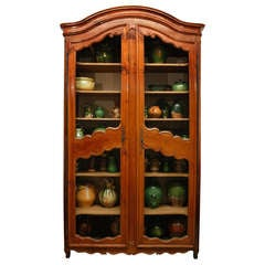18th c. Provencal Cherry Wood, Wire-Front Bibliotheque