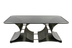Midcentury Francois Monnet Metal and Glass Coffee Table