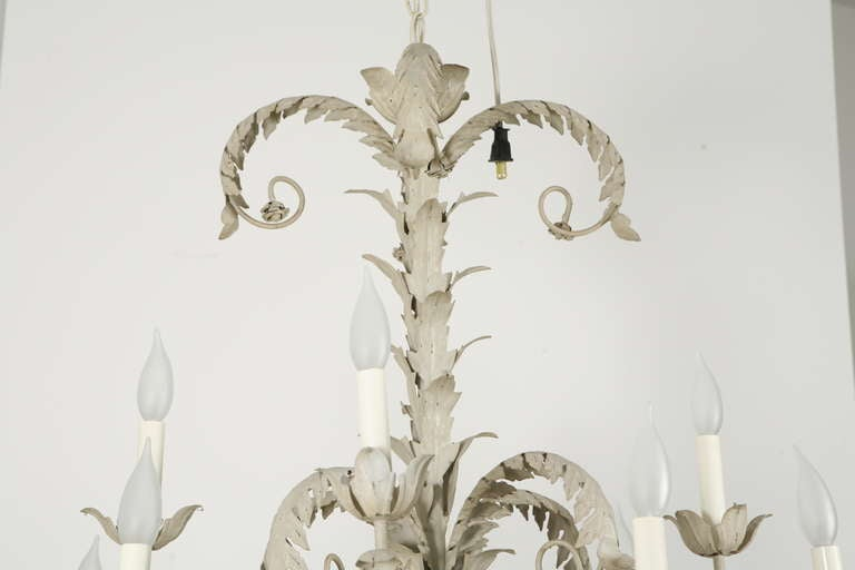 Pair of Tole Metal Chandeliers In Good Condition For Sale In Los Angeles, CA