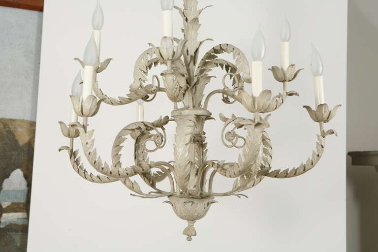 Mid-20th Century Pair of Tole Metal Chandeliers For Sale