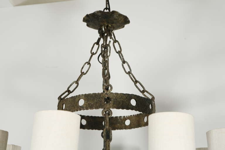 Mid-20th Century Spanish Eight Light Chandelier For Sale