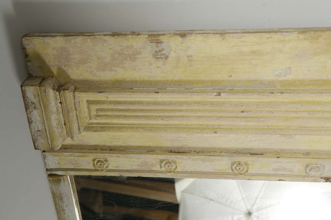 19th Century Large French Yellow Trumeau Mirror For Sale