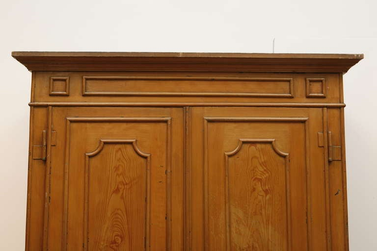 Pair of Painted Wood Grain Metal Armoires For Sale 1