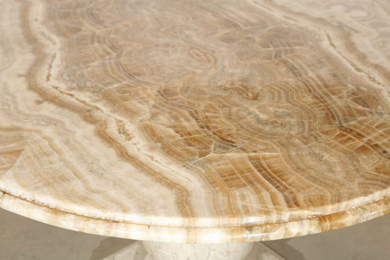 Round Gueridon Table with a Marble Base and Onyx Top
