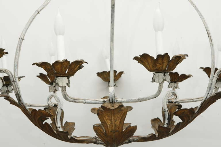 Wrought Iron Gilt Tole Chandelier 3