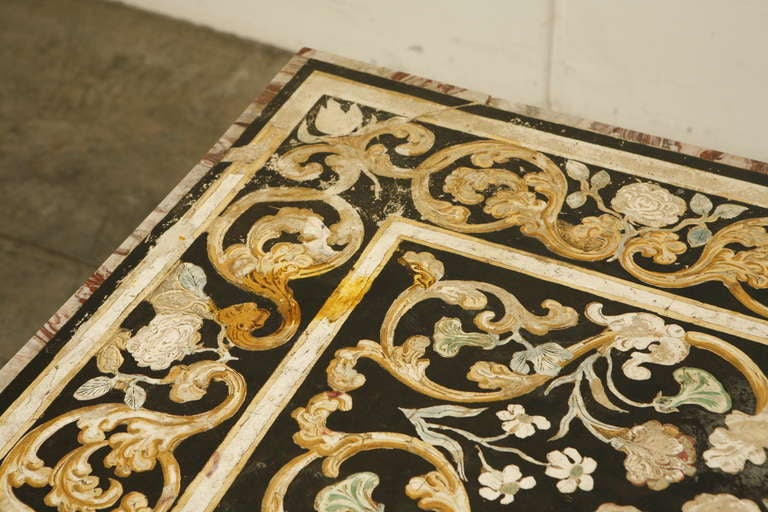 Painted Pietra Dura Tabletop with Wood Pedestals For Sale  : MG9984l from www.1stdibs.com size 768 x 512 jpeg 77kB