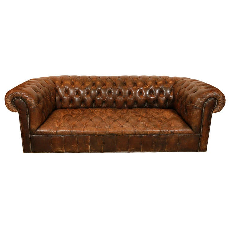 19th C French Leather Club Sofa For Sale At 1stdibs