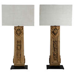 Pair of Table Lamps of 19th c. French Wood Architectural Elements