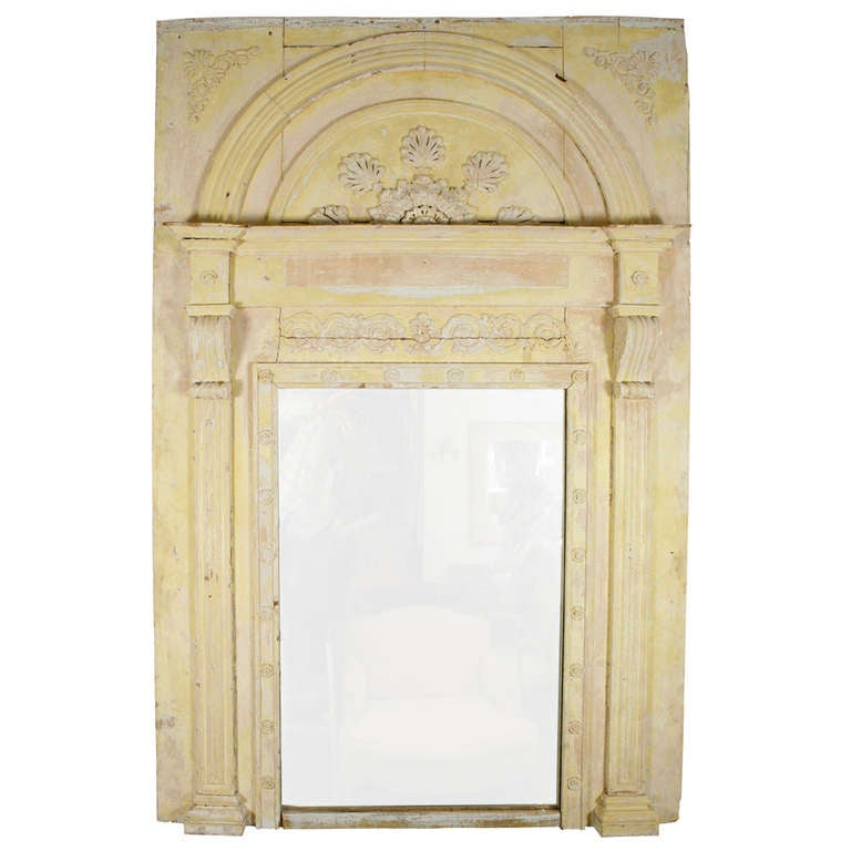 Large French Yellow Trumeau Mirror For Sale