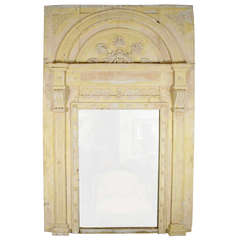 Large French Yellow Trumeau Mirror
