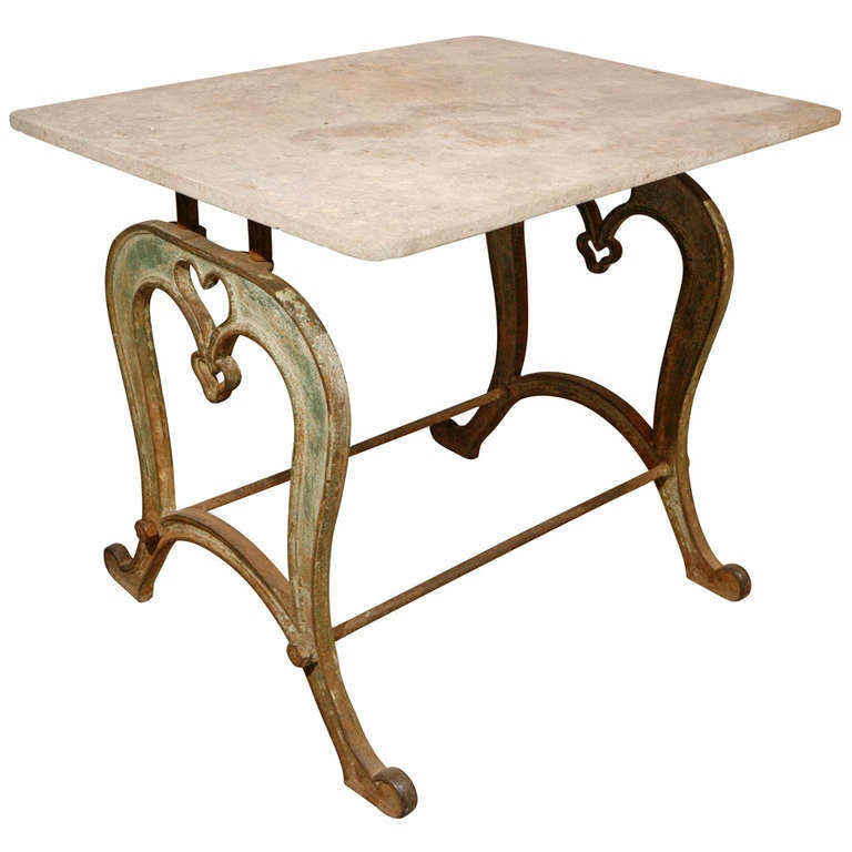 Cast iron table base with heart detail and original for Cast iron table base marble top