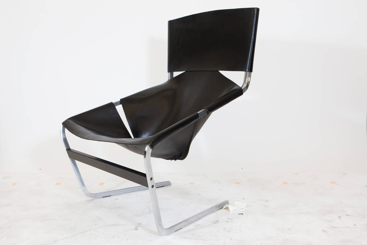 Mid-20th Century Pierre Paulin Leather Lounge Chair For Sale