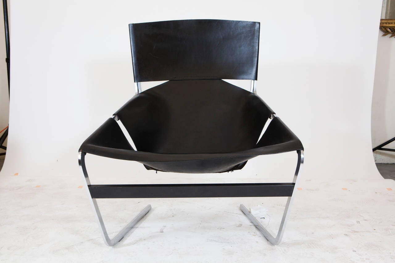 French Pierre Paulin Leather Lounge Chair For Sale