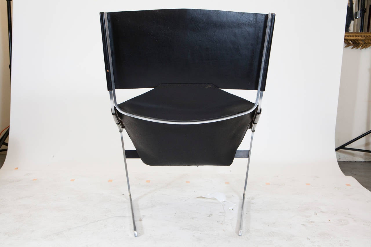 Pierre Paulin Leather Lounge Chair In Good Condition For Sale In Los Angeles, CA