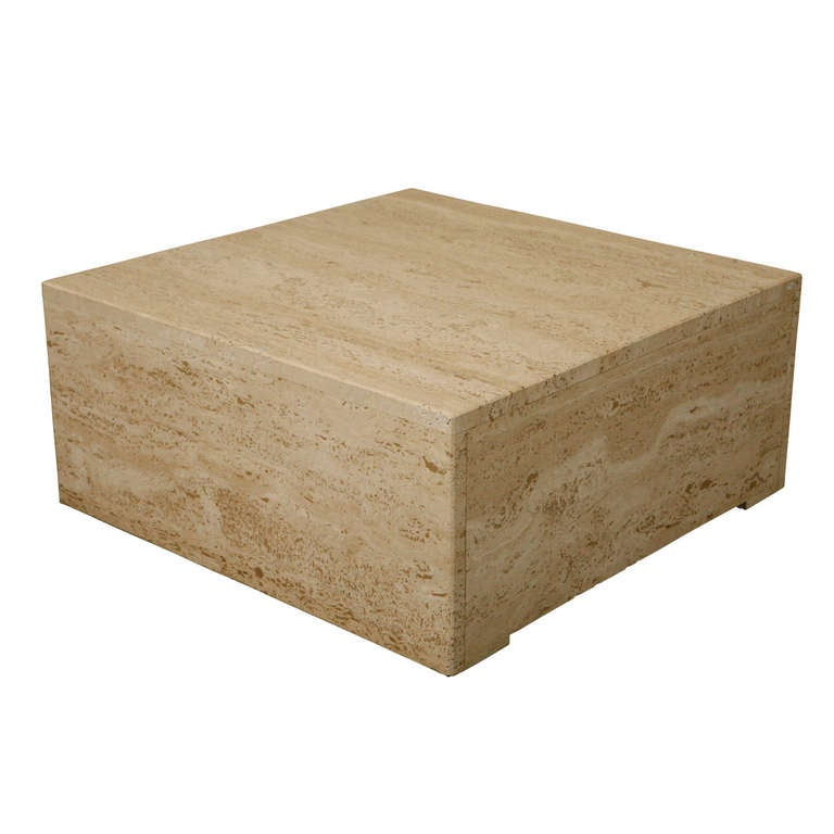 Mid-Century French Square Travertine Coffee Table At 1stdibs