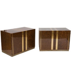 Pair of Burl Wood and Brass Inlaid Nightstands