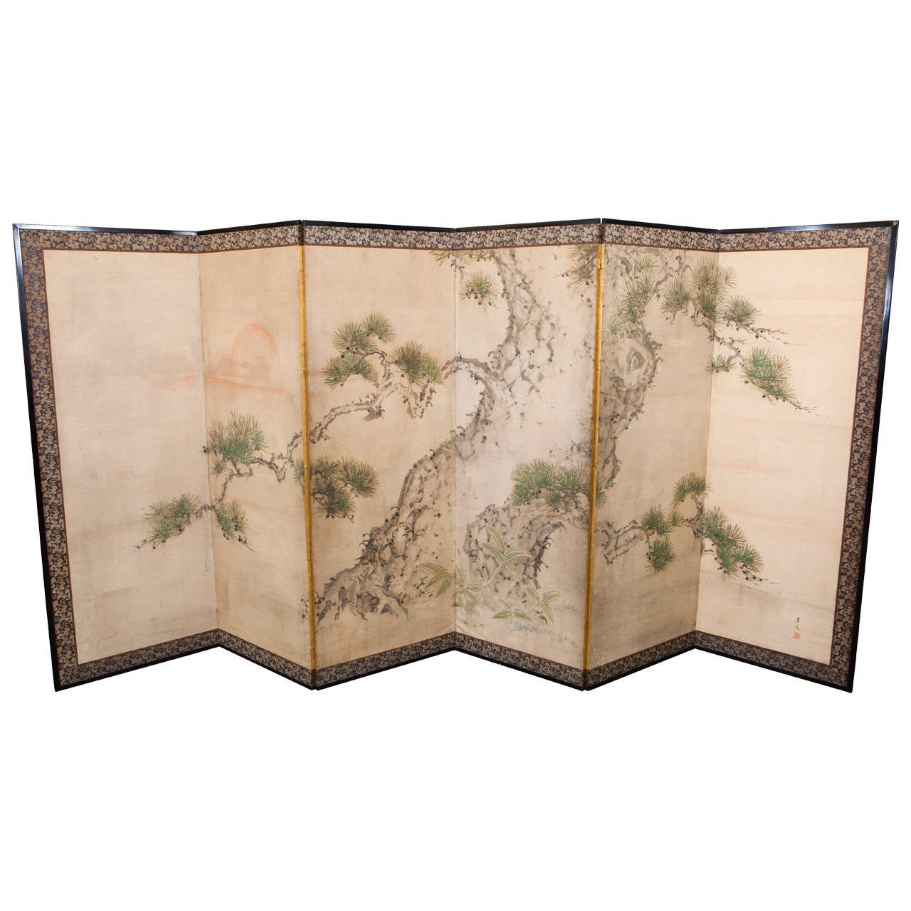 Antique japanese screens for sale - Six Panel Japanese Screen Depicting A Pine Tree Scene 1