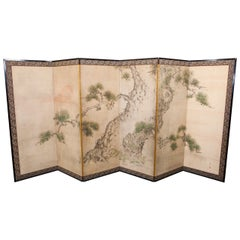 Six Panel Japanese Screen Depicting a Pine Tree Scene