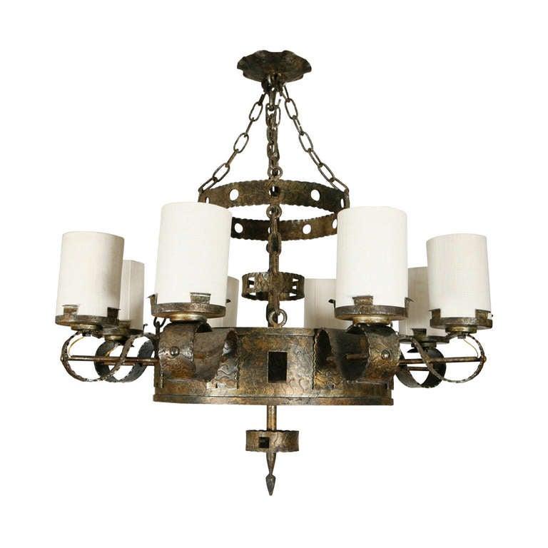 Spanish Eight Light Chandelier For Sale