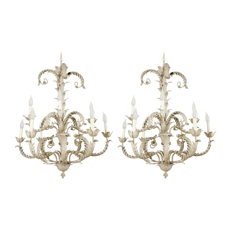 Pair of Tole Metal Chandeliers For Sale