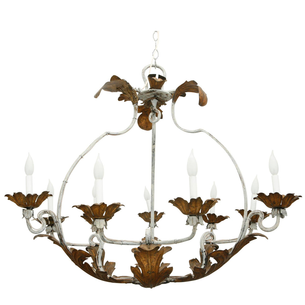 Wrought Iron Gilt Tole Chandelier 1