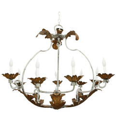 Wrought Iron Gilt Tole Chandelier