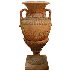 Red Terracotta Urn and Pedestal