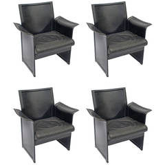 Korium Black Leather Armchairs