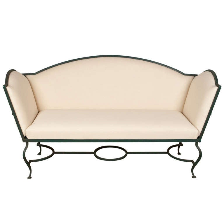 1930 S Antique Iron Settee With Outdoor Fabric At 1stdibs