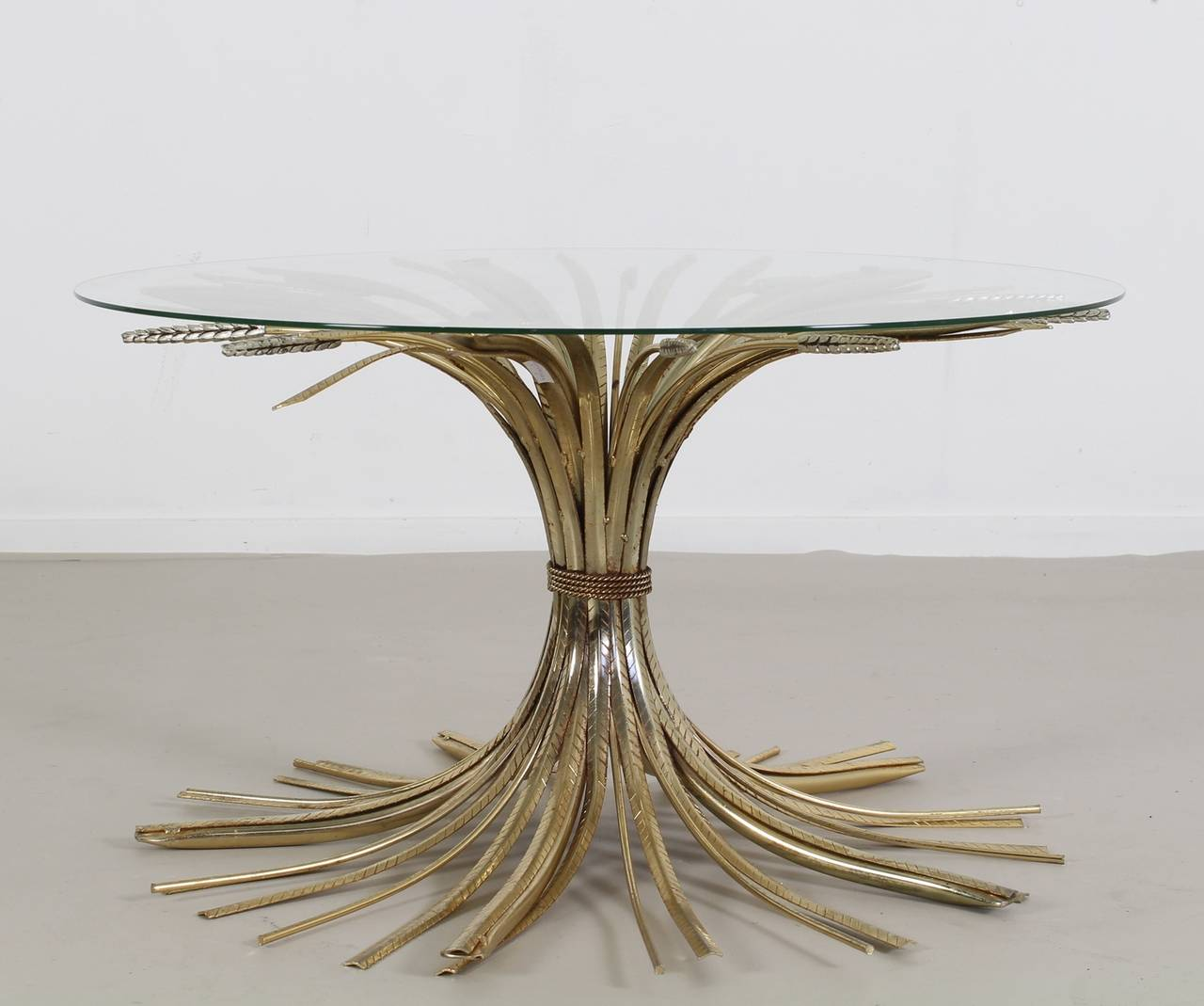 Wheat Sheaf Gilt Metal Table With Glass Top At 1stdibs