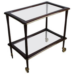 Italian Lacca Style Tea Trolley Cart with Brass Lining