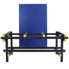 Yellow and Blue Rietveld Color Coffee Table by De Bijenkorf, Holland