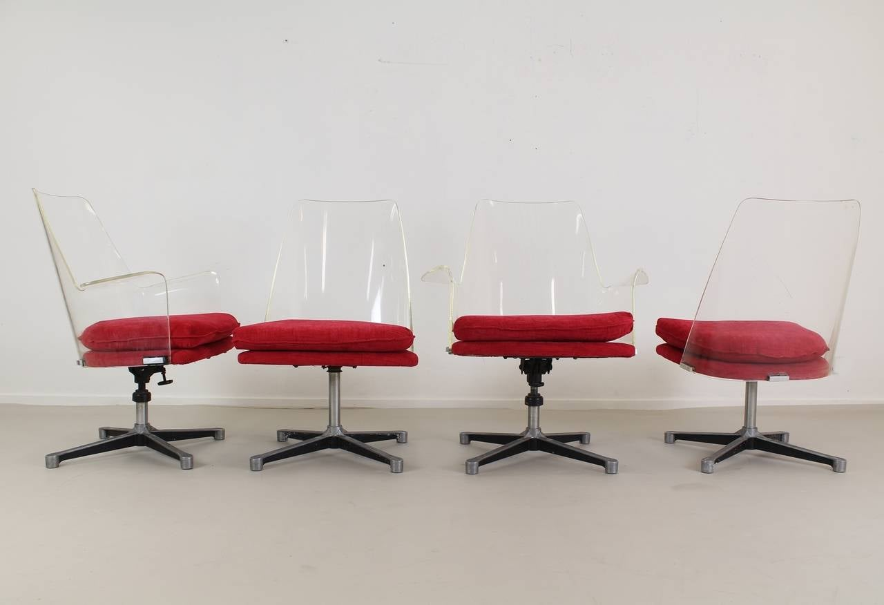 Original Authentic American Lucite fice Chairs For Sale