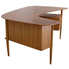1950s German Design Kidney Shaped Large Desk by Hans Hartl