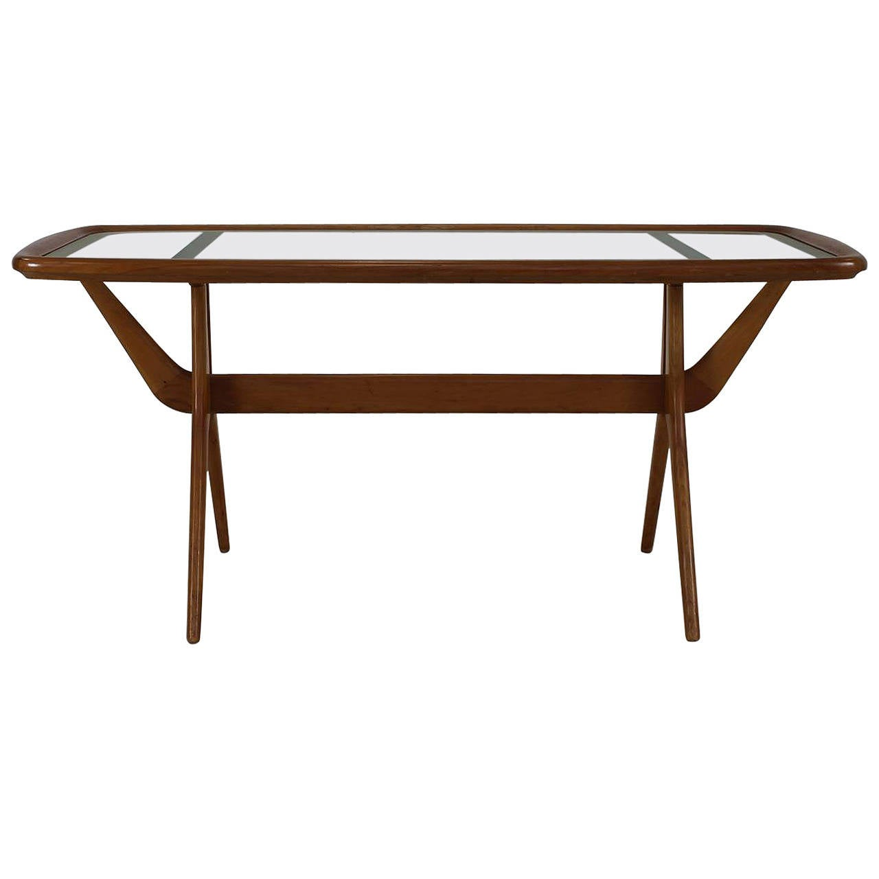 sculptural walnut italian design coffee table for sale at