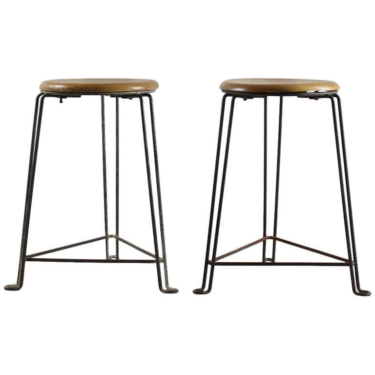Industrial Wired Metal Stools By Tomado Holland At 1stdibs