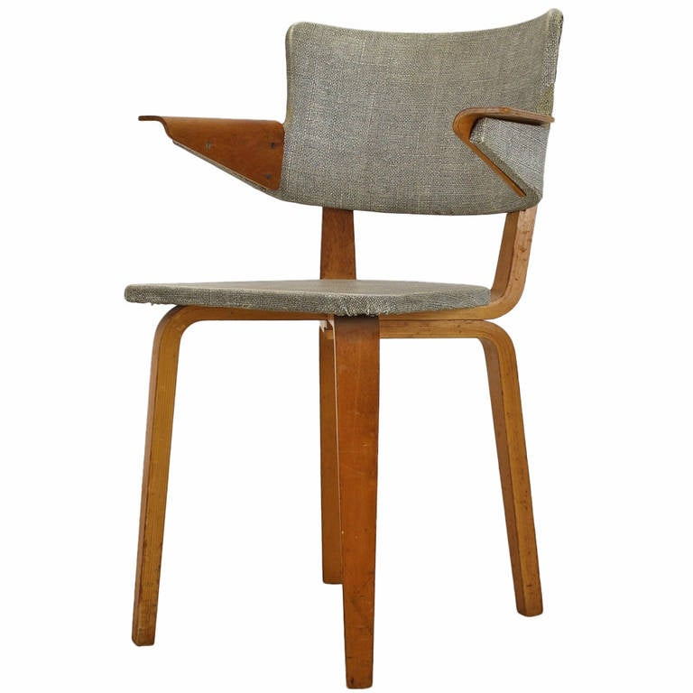 Laminated wooden armchair by cor alons for den boer gouda