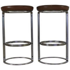 Two Scarce Kill International Chrome-Plated Steel Bar Stools by Horst Bruning