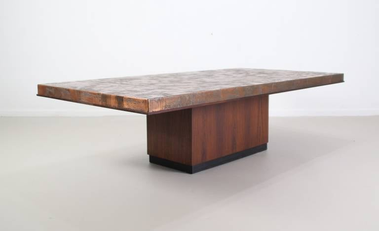 Etched Copper Top German Design Coffee Table at 1stdibs
