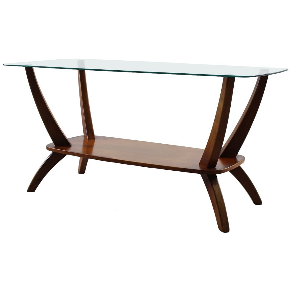 Dutch Design Coffeetable With Glass Top And Bentwood Legs At 1stdibs
