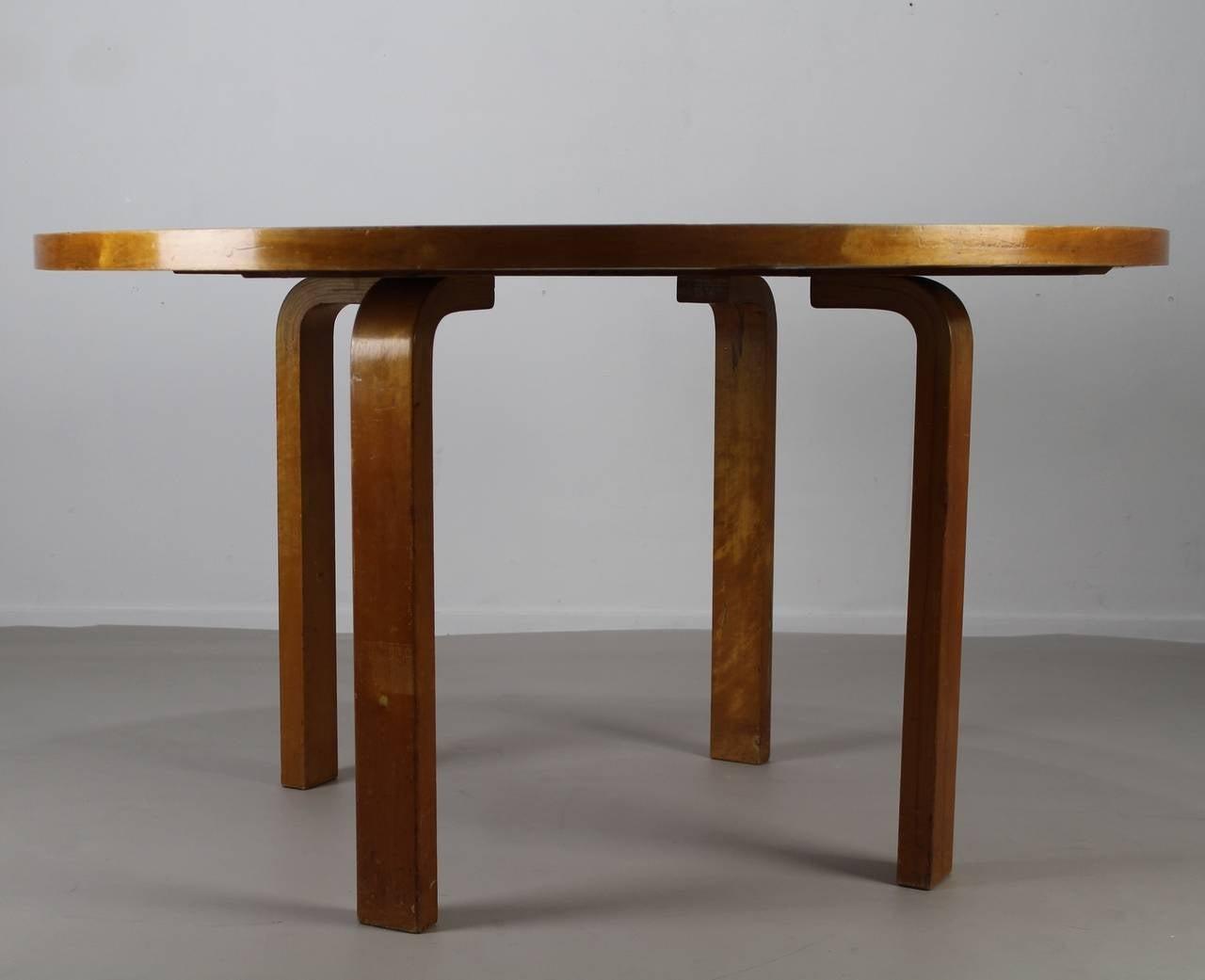 Very Rare Karelian Birch Large Table By Alvar Aalto For Artek Finland 3